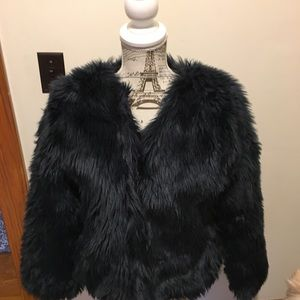 Zara Deep Navy Faux Fur Jacket